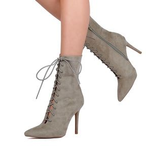 Suede Lace Pointed Toe Stiletto Heel Bootie